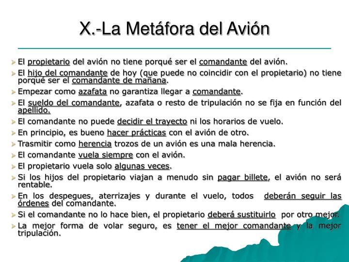 X.-La Metáfora del Avión