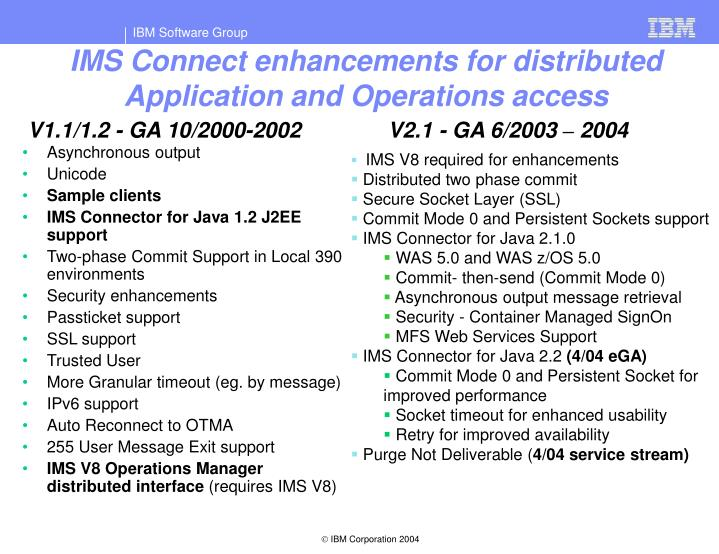 IMS Connect enhancements for distributed Application and Operations access