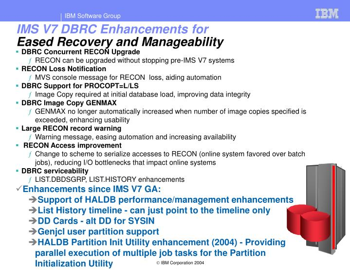 IMS V7 DBRC Enhancements for