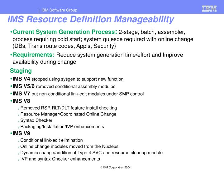 IMS Resource Definition Manageability