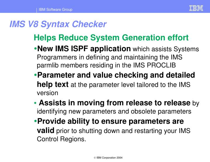 IMS V8 Syntax Checker