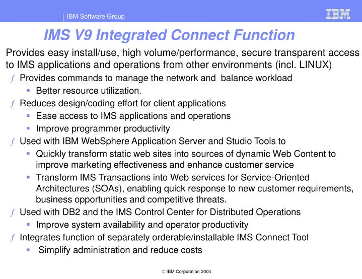 IMS V9 Integrated Connect Function