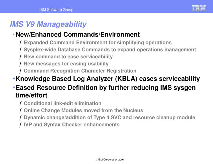 IMS V9 Manageability