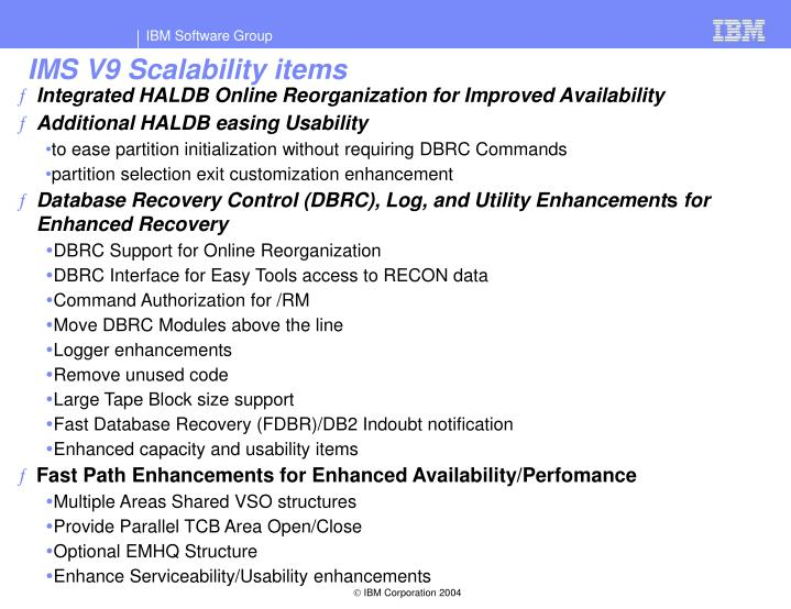 IMS V9 Scalability items