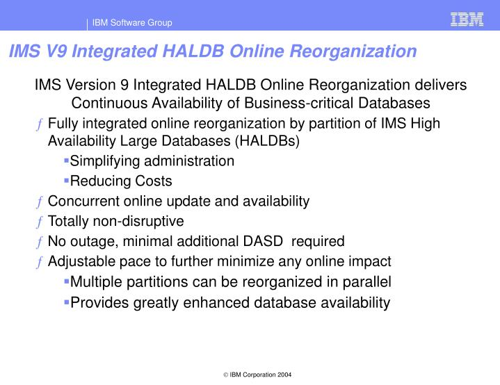 IMS V9 Integrated HALDB Online Reorganization