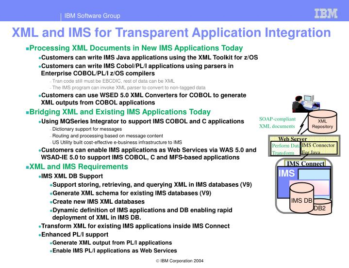 XML and IMS for Transparent Application Integration