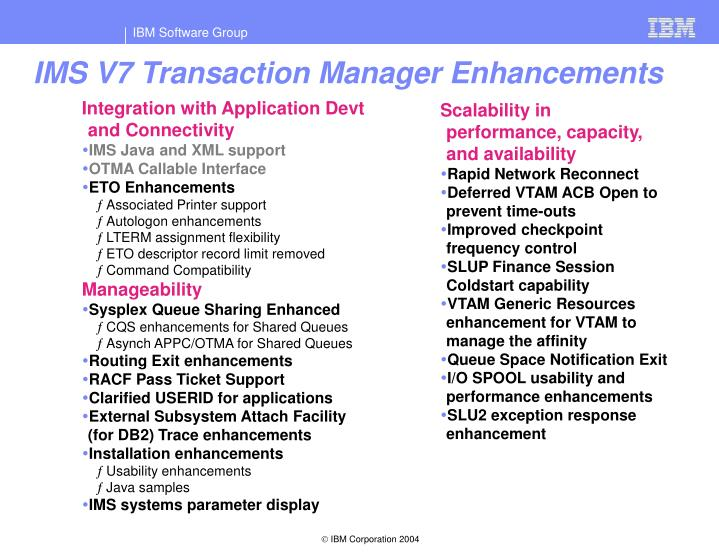 IMS V7 Transaction Manager Enhancements