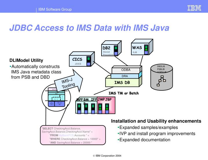JDBC Access to IMS Data with IMS Java