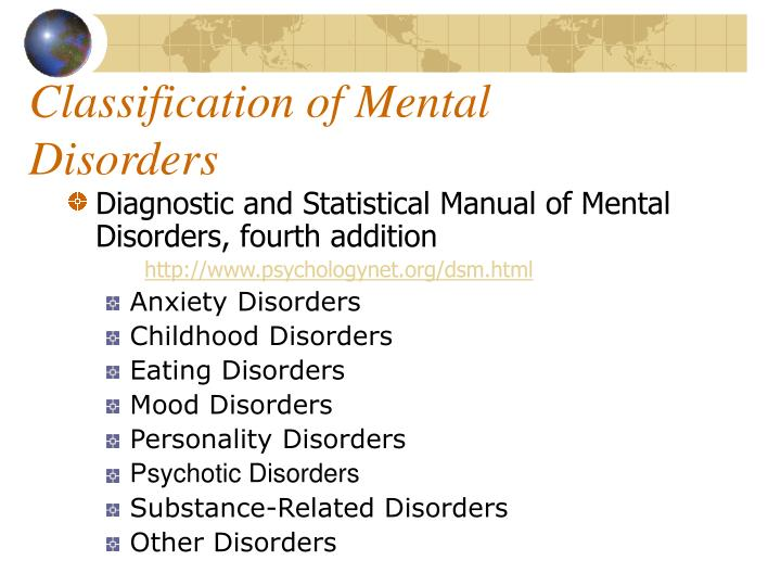 Classification of Mental Disorders