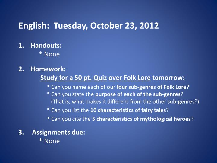 English tuesday october 23 2012
