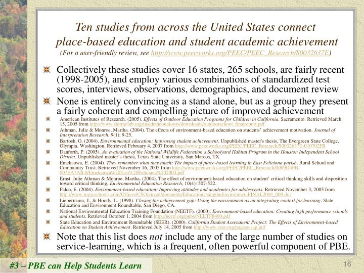 Ten studies from across the United States connect