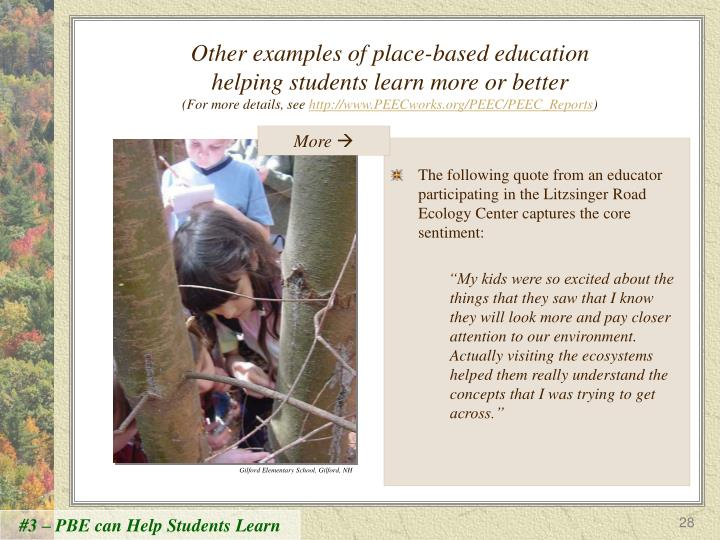 Other examples of place-based education