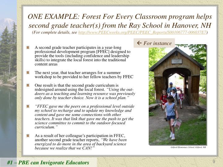 ONE EXAMPLE: Forest For Every Classroom program helps second grade teacher(s) from the Ray School in Hanover, NH