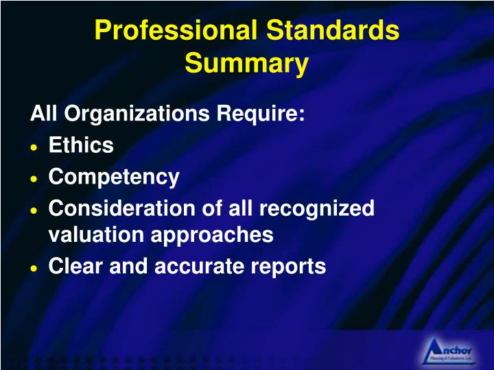 Professional Standards Summary