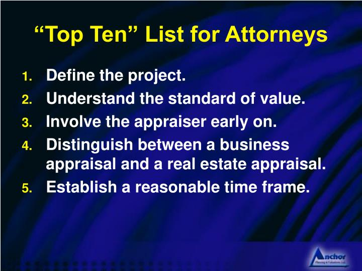 """Top Ten"" List for Attorneys"