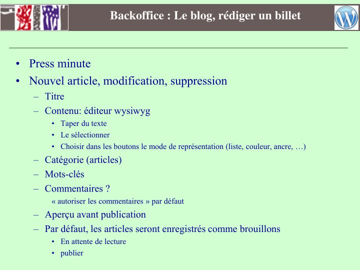 Backoffice : Le blog, rédiger un billet