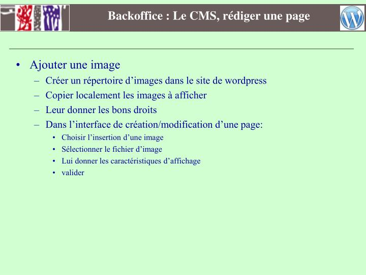 Backoffice : Le CMS, rédiger une page