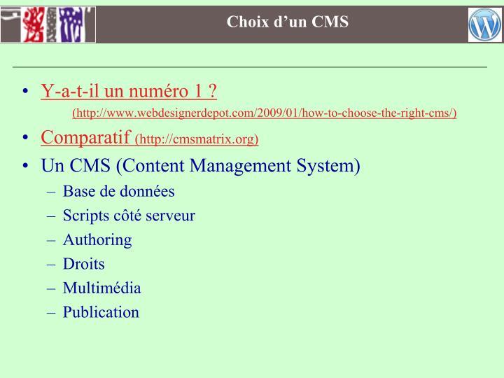 Choix d'un CMS