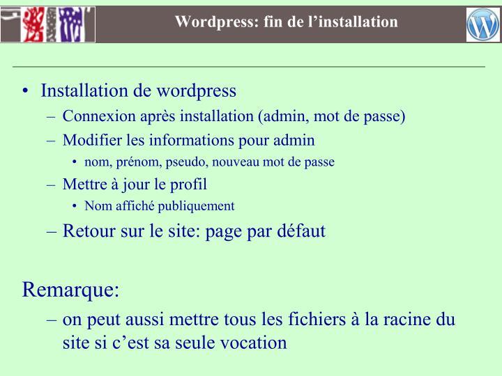 Wordpress: fin de l'installation