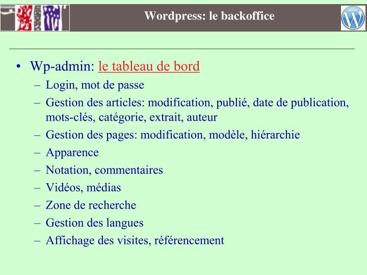 Wordpress: le backoffice