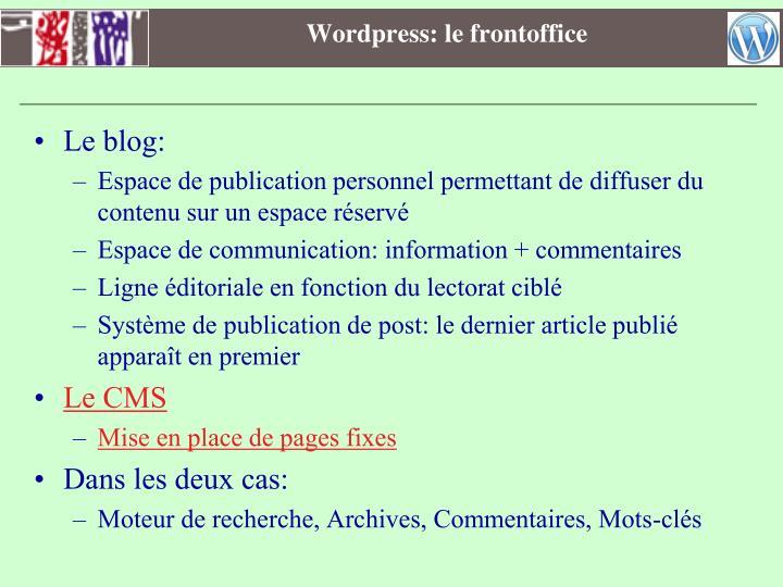Wordpress: le frontoffice