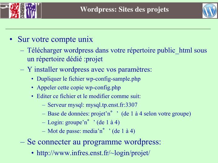 Wordpress: Sites des projets