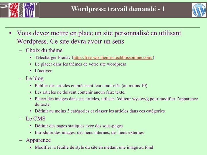 Wordpress: travail demandé - 1