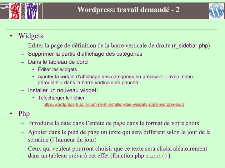 Wordpress: travail demandé - 2