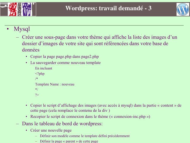 Wordpress: travail demandé - 3