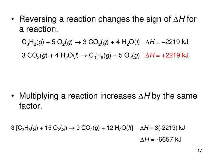 Reversing a reaction changes the sign of