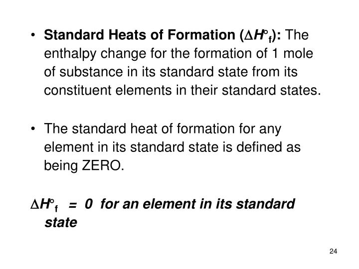 Standard Heats of Formation (