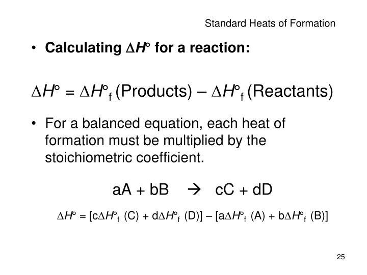 Standard Heats of Formation
