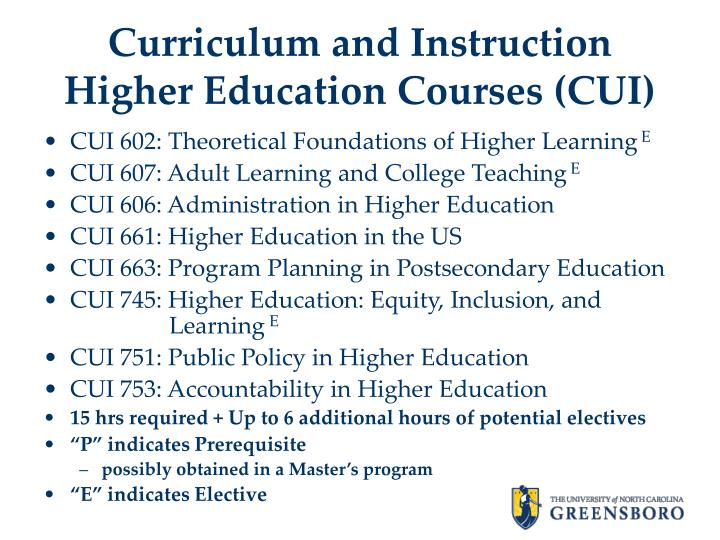 Curriculum and Instruction Higher Education Courses (CUI)
