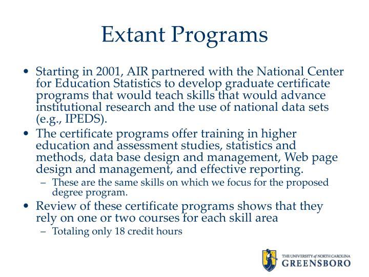 Extant Programs