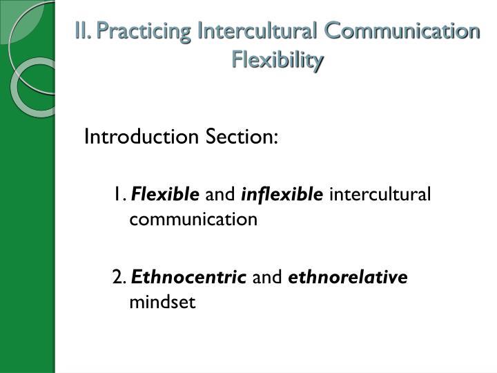II. Practicing Intercultural Communication Flexibility