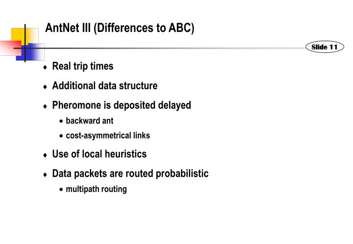 AntNet III (Differences to ABC)