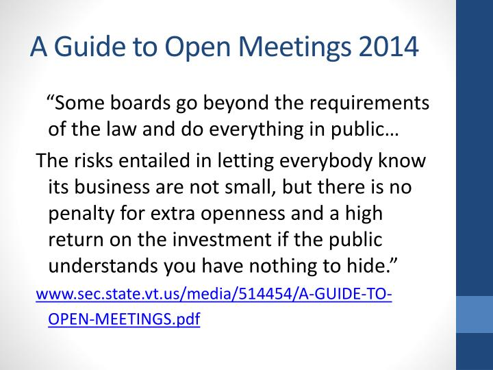 A Guide to Open Meetings 2014
