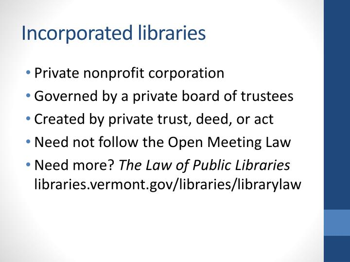 Incorporated libraries