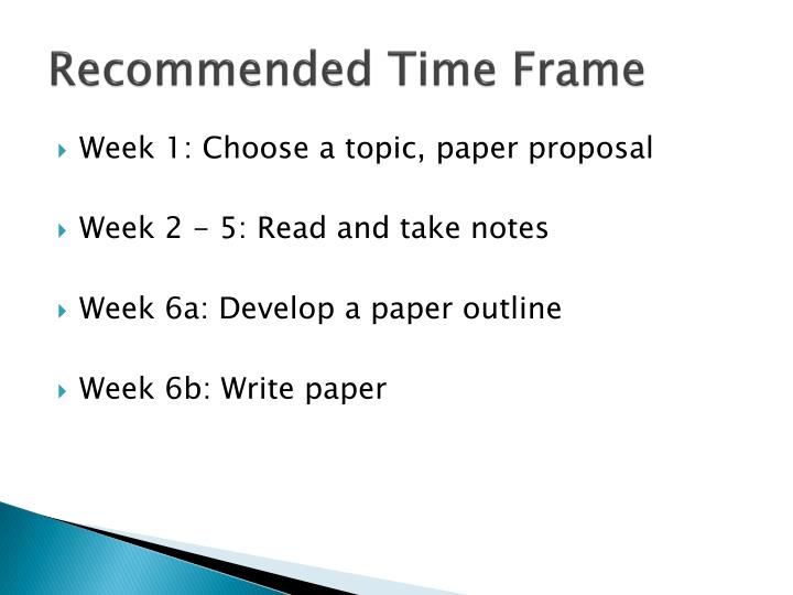 Recommended Time Frame