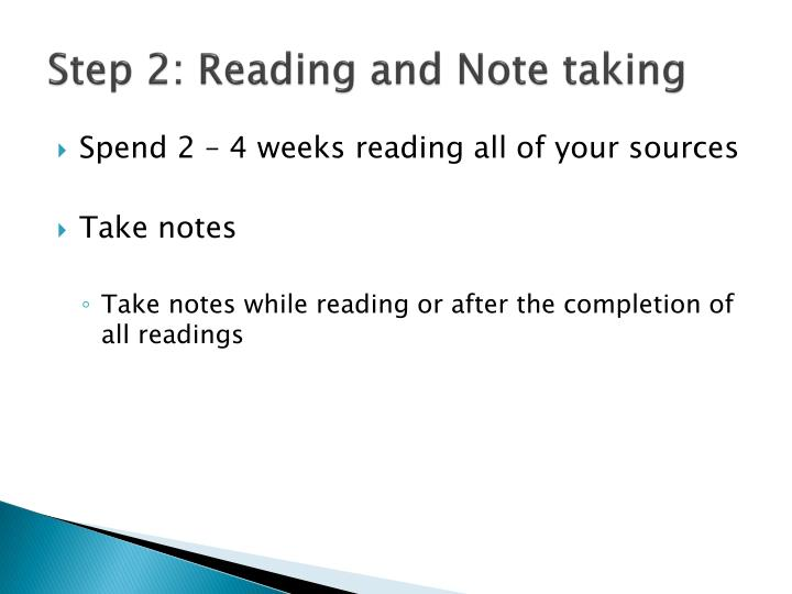 Step 2: Reading and Note taking