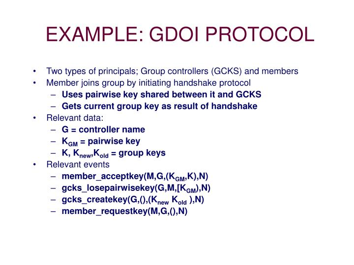 EXAMPLE: GDOI PROTOCOL