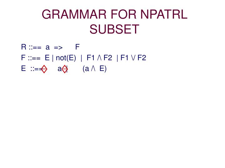 GRAMMAR FOR NPATRL SUBSET