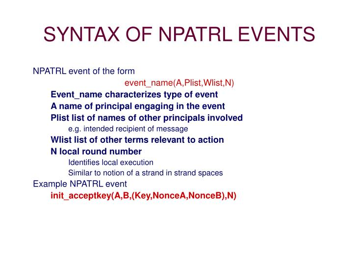 SYNTAX OF NPATRL EVENTS
