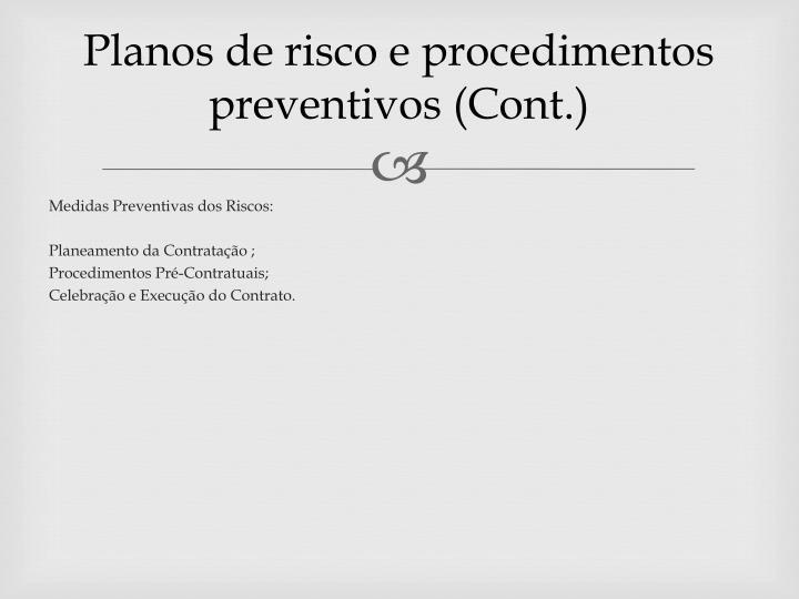 Planos de risco e procedimentos