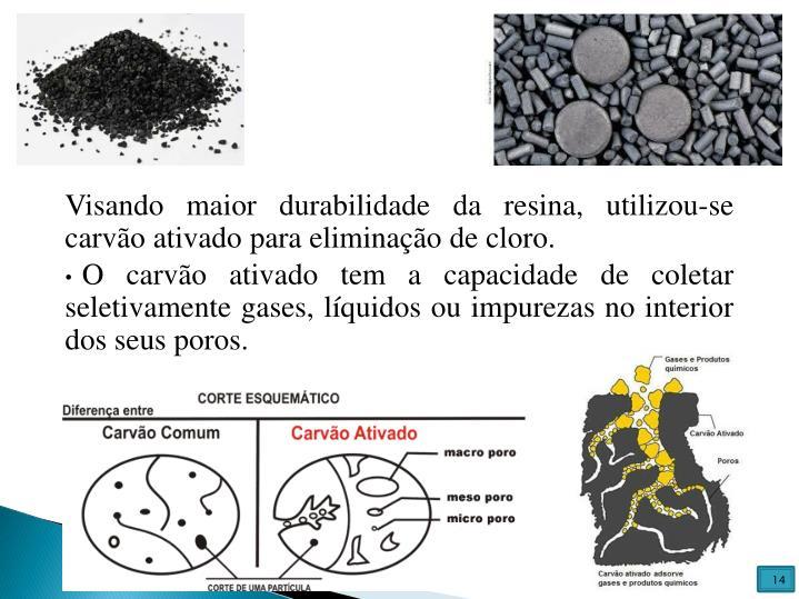 Visando maior durabilidade da resina, utilizou-se carvão ativado para eliminação de cloro.