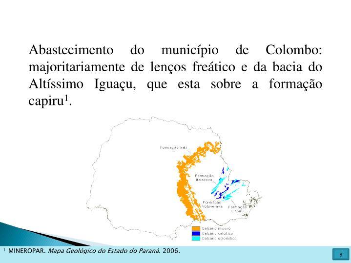 Abastecimento do município de Colombo: majoritariamente de