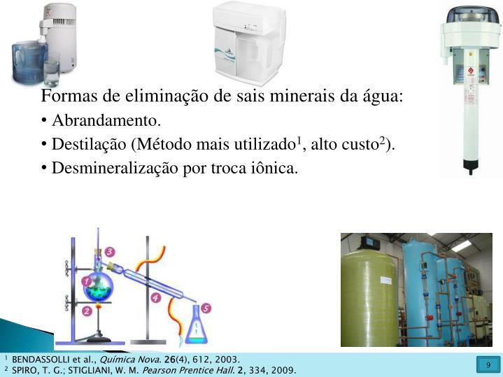 Formas de eliminação de sais minerais da água: