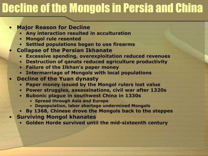Decline of the Mongols in Persia and China