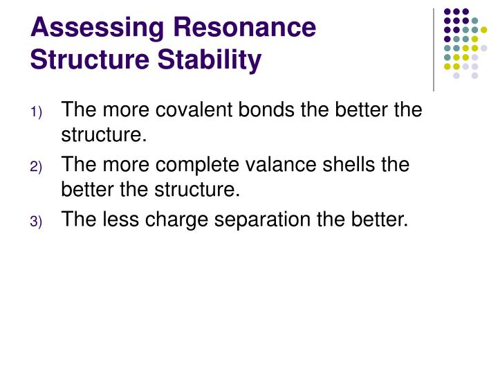 Assessing Resonance Structure Stability