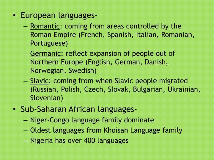 European languages-